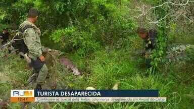 Continuam buscas por turista de Santa Catarina desaparecida em Arraial do Cabo, no RJ - Esta quarta-feira (21) é o terceiro dia de buscas.
