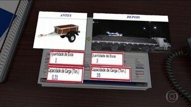 PRF prende quadrilha que adulterava estruturas de caminhões para eles levarem mais carga - Num dos casos, um reboque que transportava 300 kg passou a ter registro para transportar 35 toneladas.