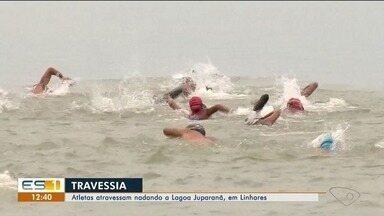 Mais de 150 nadadores atravessam Lagoa Juparanã, em Linhares - Travessia já é tradição na região.
