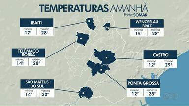 Chuva deve chegar nesta quarta-feira (28) à região dos Campos Gerais - Confira a previsão do tempo.
