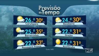 Veja as variações das temperaturas no Maranhão - Segundo a previsão do tempo, a quarta-feira (28) em São Luís será de sol alternando com pancadas de chuva e possíveis trovoadas.