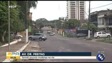 Semob inicia orientação educativa para a mudança de sentido da avenida Dr. Freitas - A partir de sábado a via terá sentido único.