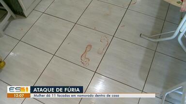 Mulher dá 11 facadas em namorado dentro de casa, em Vitória - O homem, de 62 anos, está internado em estado grave.