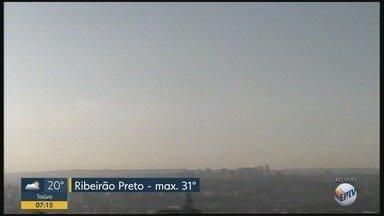 Confira a previsão do tempo para terça-feira (4) em Ribeirão Preto - Temperatura pode chegar a 31ºC durante a tarde.