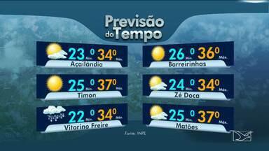 Veja as variações das temperaturas no Maranhão - Segundo a previsão do tempo, a terça-feira (4) terá sol com possibilidade de chuva ao longo do dia no estado.