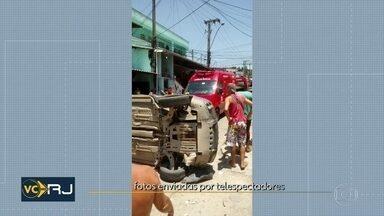 Menino de 8 anos morre atropelado em São Gonçalo - Carro capotou e atingiu outras duas pessoas.