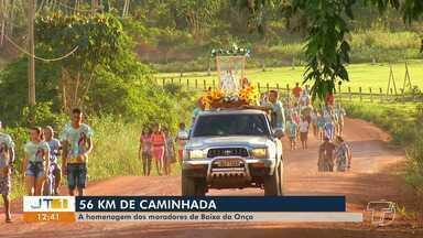 Devotos de N. Sra da Conceição caminham 56 km para agradecer e pagar promessas - Os fiéis saíram da comunidade Baixa da Onça na sexta-feira (7) e chegaram na manhã deste sábado (8) na Catedral de Santarém.