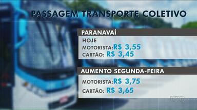 Reajuste do transporte coletivo passa a valer na segunda-feira (10) em Paranavaí - Preço das passagens subiu R$ 0,20 na cidade.