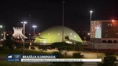 Brasília ganha iluminação de Natal a partir desta sexta (14) - Oito monumentos da capital vão ganhar luzes de LED e interação com vídeos em 2D e 3D. A iluminação fica até 25 de dezembro, das 18h30 às 5h. O projeto custou R$ 2,2 milhões.
