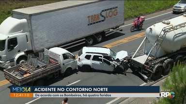 Viatura descaracterizada se envolve em acidente no Contorno Norte - O acidente foi hoje (14) pela manhã, em Curitiba.