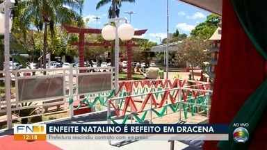Praça Arthur Pagnozzi recebe decoração natalina com enfeites antigos - Prefeitura de Dracena informou que empresa não cumpriu contrato.