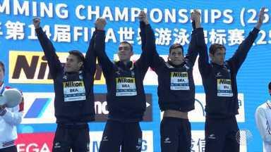 Baiano vence campeonato mundial de natação na China - O recorde mundial de revezamento quatro por 200 também foi batido pelo nadador.