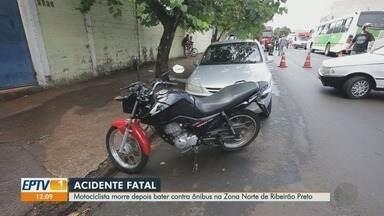 Motociclista morre após derrapar e atingir ônibus urbano em Ribeirão Preto - Chovia no momento do acidente neste domingo (16).