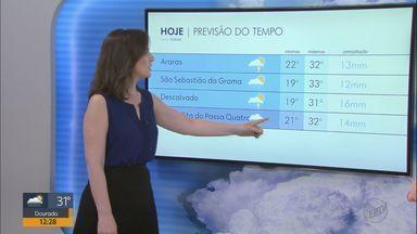 Veja como fica o tempo na região nesta quarta-feira (19) - Previsão é de possibilidade de pancadas de chuva.