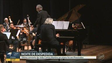 Maestro João Carlos Martins faz última apresentação ao piano - Ele se apresentou com a Orquestra Municipal de Piracicaba.
