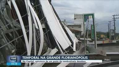 Estrutura de posto de combustíveis desaba em Florianópolis - Estrutura de posto de combustíveis desaba em Florianópolis