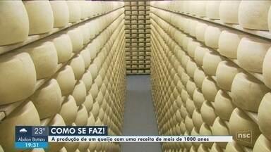 Quadro 'Como se faz' mostra detalhes da produção do queijo Grana Padano - Quadro 'Como se faz' mostra detalhes da produção do queijo Grana Padano