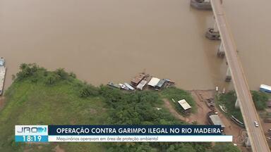 Operação para retirar dragas do Rio Madeiras - Garimpos ilegais funcionavam em área de proteção ambiental.