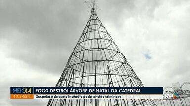 Incêndio destrói árvore de Natal da Catedral - Polícia investiga as causas de acidente.