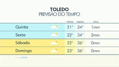 Chuva fraca e em áreas isoladas deve cair em todo Paraná - Calor ainda deve ser forte, com máxima de 32 graus em Cascavel.