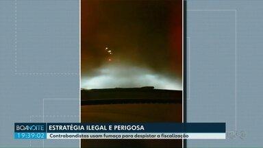 Contrabandistas usam fumaça para tentar escapar de perseguição da polícia - O Boa Noite Paraná teve acesso a um vídeo durante uma perseguição