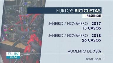 Cresce número de roubos de bicicletas em Resende - O número de furtos aumentou 73% em 2018, em comparação com 2017. Polícia orienta que vítimas registrem a ocorrência.