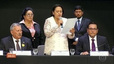Veja como foi a posse dos governadores no Nordeste - Apenas dois estados tiveram novos governadores com João Azevedo (PSB), na Paraíba, e Fátima Bezerra (PT), no Rio Grande do Norte.
