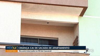 Criança cai de sacada de apartamento em Cascavel - Ela está internada no HU de Cascavel.
