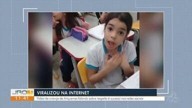 Criança de Ariquemes fica famosa após falar em vídeo sobre amor e respeito - Criança de Ariquemes fica famosa após falar em vídeo sobre amor e respeito.