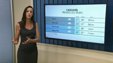 Previsão de pancadas de chuva para esta sexta-feira - Temperatura máxima prevista para Cascavel é de 28 graus.