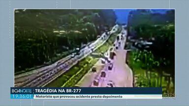 Motorista que provocou acidente presta depoimento - O acidente foi na tarde desta quarta-feira (02), na BR-277. Uma pessoa morreu.