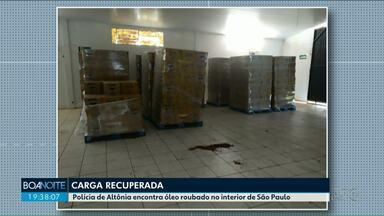 Polícia de Altônia encontra óleo roubado no interior de São Paulo - O delegado acredita em um esquema de venda de carga roubada na cidade.