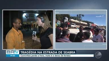 Tragédia: caminhão perde freio, mata 6 e deixa 26 feridos em Seabra - Os feridos foram encaminhados para hospitais de Salvador, Feira de Santana e Juazeiro.