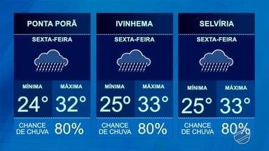 Veja a previsão do tempo para esta sexta-feira (4) - A previsão é de chuva em todas as regiões do estado. Na região sul pode ocorrer queda de raios.