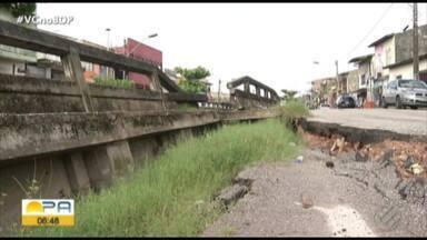 Trecho da av. Gentil Bittencourt é interditado devido a problema na mureta do canal - Parte do asfalto ao lado da mureta cedeu.