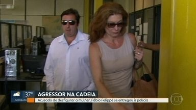 Fábio Tuffy Felipe se entrega à polícia após ter prisão decretada - Filho do presidente da Câmara Municipal do Rio é acusado de agredir a esposa durante 3 horas. A mulher ficou com o rosto desfigurado.