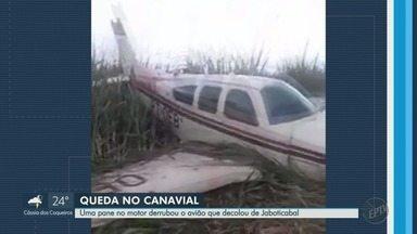 Pane em motor derruba avião que decolou em Jaboticabal, SP - Veículo foi parar em Fronteira (MG). Piloto teve ferimentos leves.