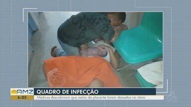 Uma semana após dar à luz em chão de maternidade, mulher passa por cirurgia - Débora Ferreira teve um filho, no dia 31 de dezembro. No dia 3, sentiu as primeiras dores, mas só recebeu tratamento nesta segunda (8).