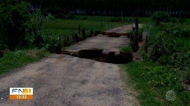 Moradores de Álvares Machado enfrentam transtornos provocados por chuvas - Ponte sofreu danos na zona rural.