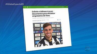 Grêmio e Udinese trocam documentos para oficializar empréstimo de Vizeu - Assista ao vídeo.
