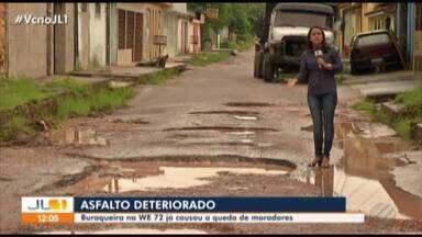 Buraqueira em travessa do conjunto Cidade Nova 6 causa acidentes - A denúncia é dos moradores da travessa WE-72.