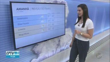 Confira a previsão do tempo para as cidades da região nesta quinta-feira - Campinas (SP) registra máxima de 34ºC e mínima de 21ºC.