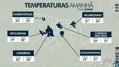 Pancadas de chuva atingem Londrina nos próximos dias - Temperaturas seguem típicas da estação do ano: acima dos 30 graus.