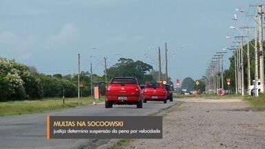 Justiça determina suspensão de multas aplicadas na Socoowski - Na decisão, a Justiça determinou que a prefeitura suspenda, de forma imediata, as multas aplicadas por excesso de velocidade no trecho.