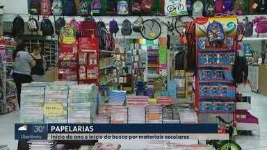 MG1 mostra o preço dos materiais escolares em papelarias em Uberlândia - De acordo com os lojistas da cidade, artigos escolares não sofreram muitas alterações na comparação com o último volta às aulas.