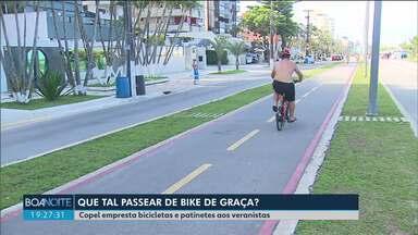 Copel empresta bicicletas e patinetes a veranistas em Caiobá e Guaratuba - Quem está passando as férias no litoral pode passear de graça pela orla.