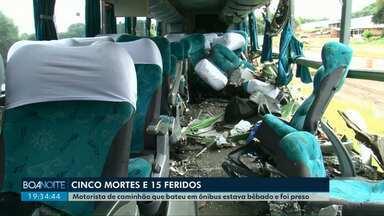 Motorista que bateu em ônibus na PR 280 estava bêbado e foi preso - Cinco pessoas morreram e 15 ficaram feridas.