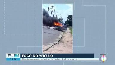 Altas temperaturas aumentam riscos de incêndio em carros; 6 carros pegaram fogo em Campos - Assista a seguir.