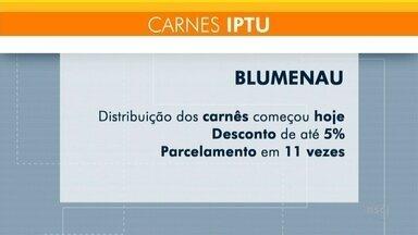Saiba como será a distribuição dos carnês do IPTU em algumas cidades no Vale do Itajaí - Saiba como será a distribuição dos carnês do IPTU em algumas cidades no Vale do Itajaí