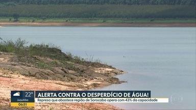 Consumo de água aumenta cerca de 30% no verão - Represa que abastace região de Sorocaba está com 43% da capacidade